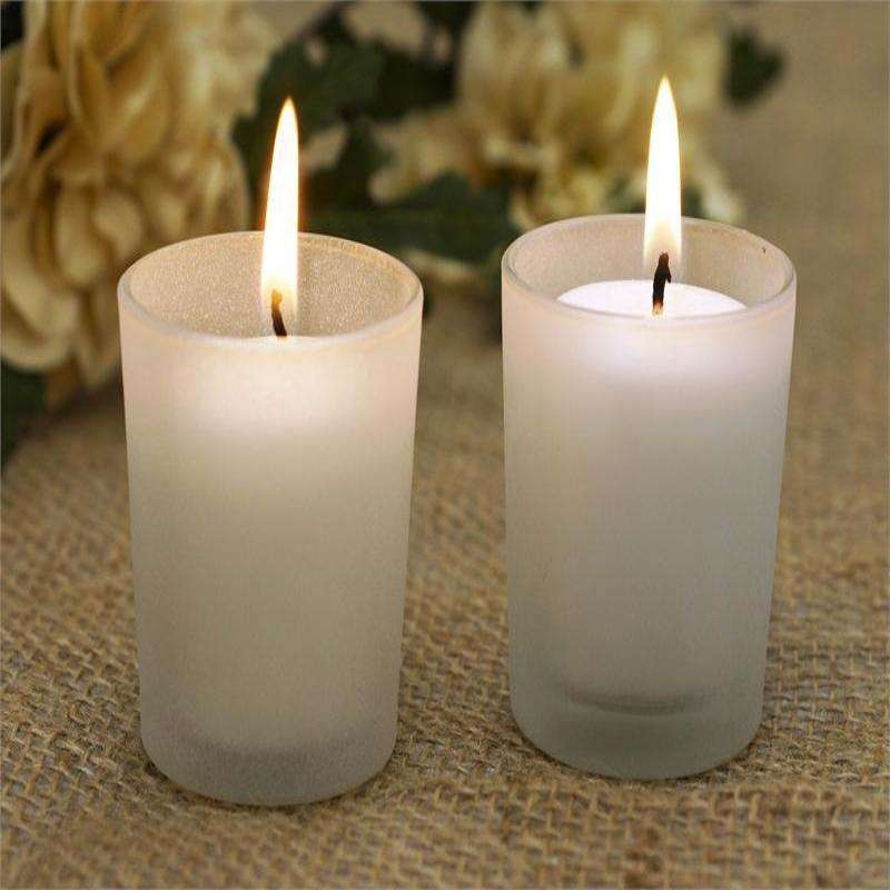 White Candles & Frosted Holders-12/pk