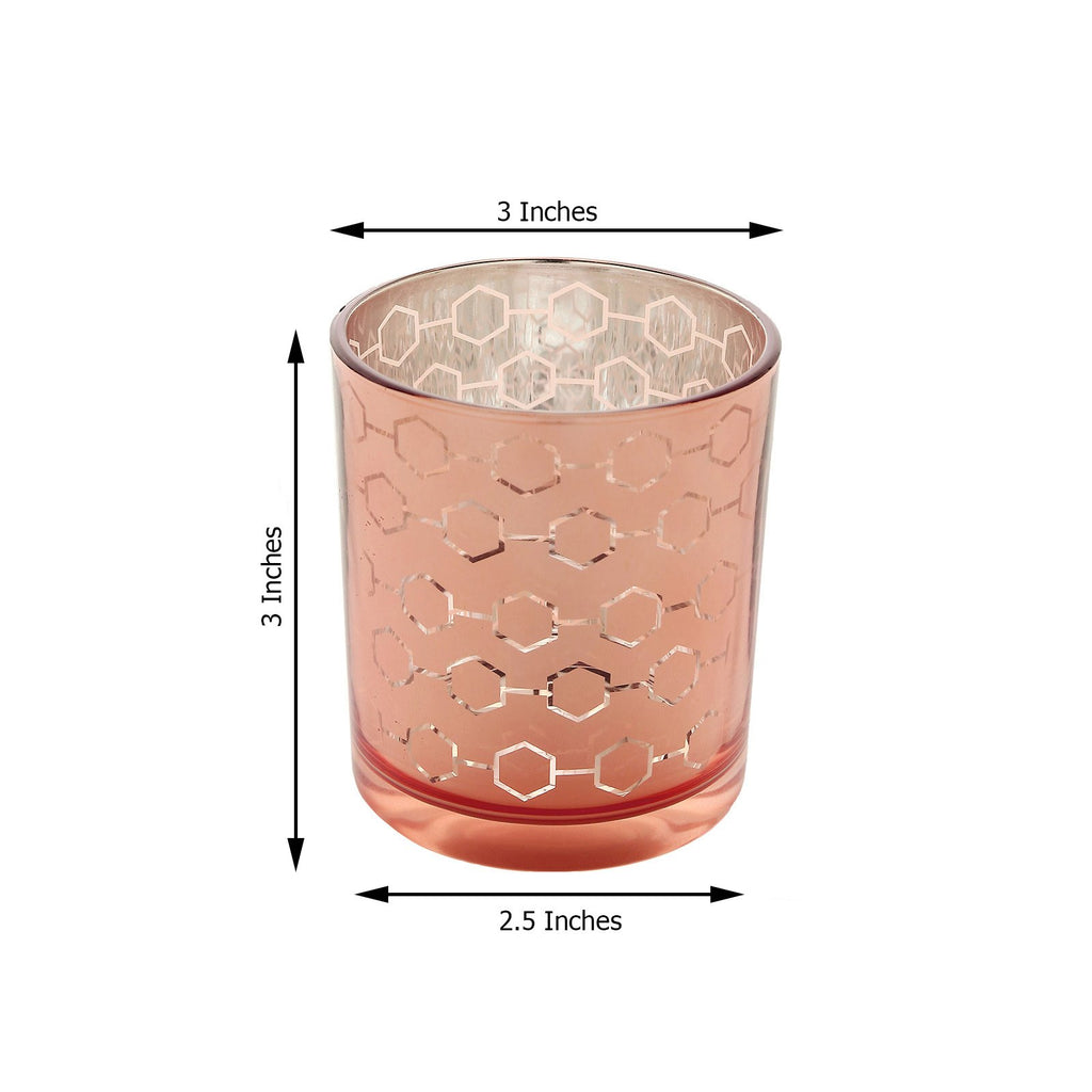 6 Pack | Mercury Glass Votive Candle Holders, Honeycomb Design Tealight Holders - Rose Gold | Blush