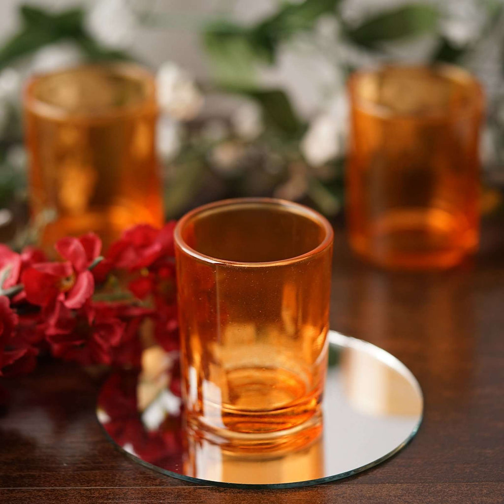 12 Pack Amber Glass Candle Tea Light Votive Holders