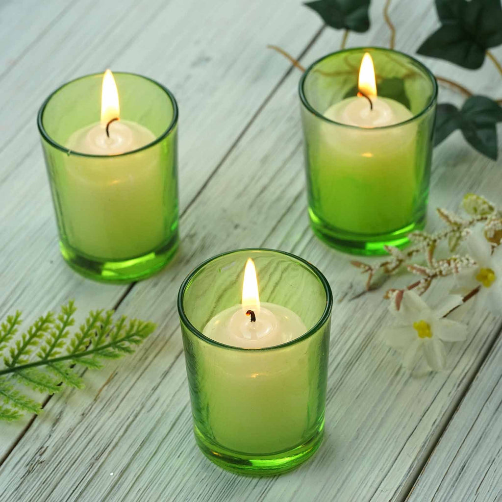12 Pack Apple Green Glass Candle Tea Light Votive Holders