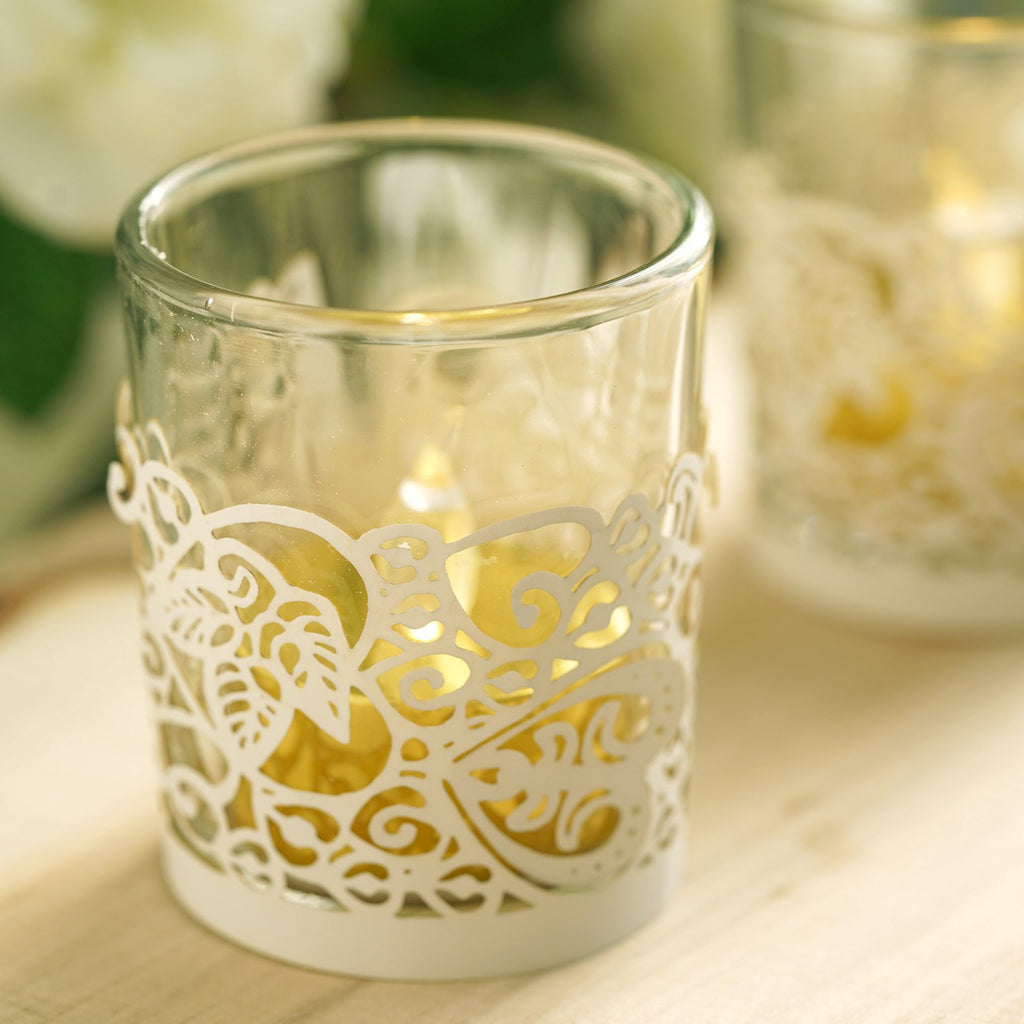 20 Pcs | White | Laser Cut Candle Decorative Wraps | Votive Holder Foil Wraps | Tea Light Wraps