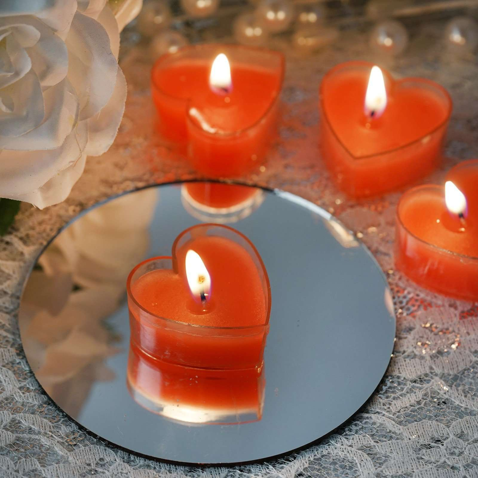 12 PCS Red Heart Shape Tealight Love Candles For Wedding Birthday Party Spa  Venue Decor