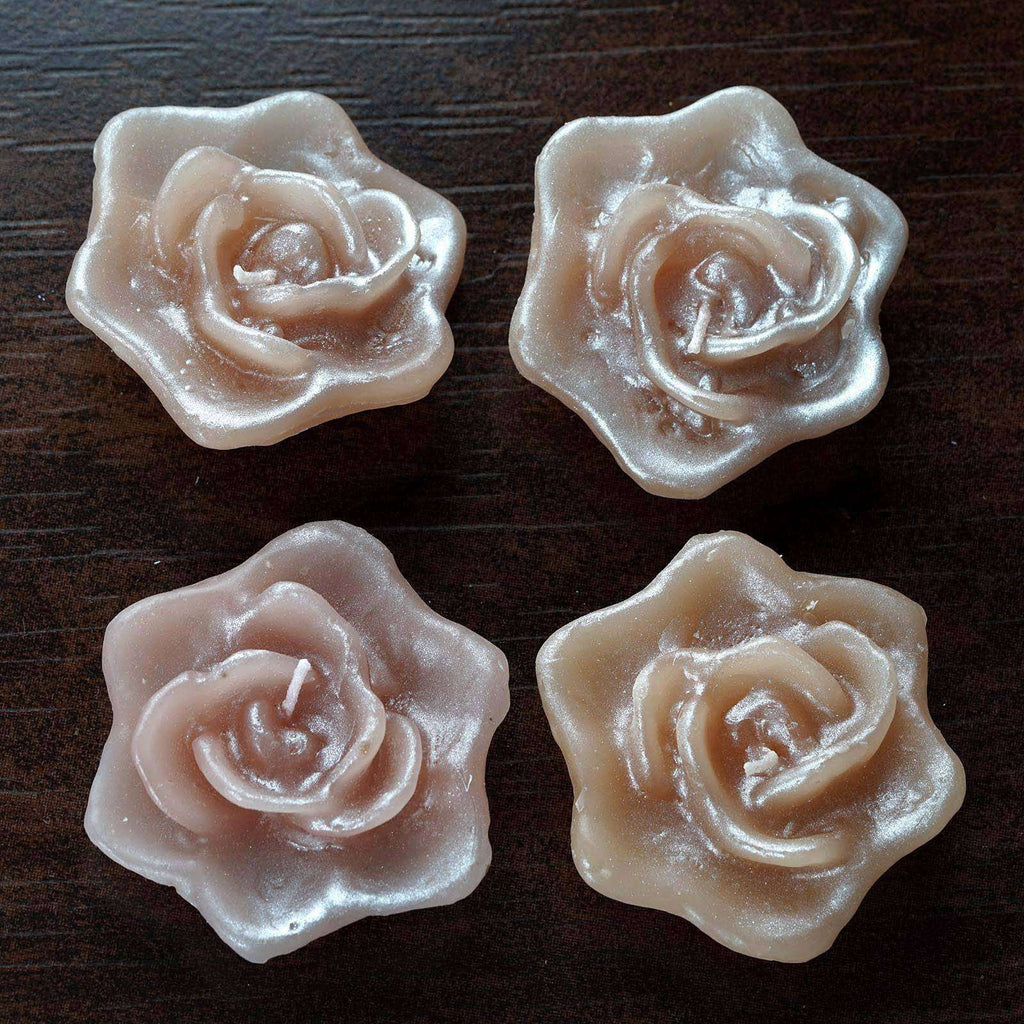 4 PCS Wholesale BLUSH Rose Flower Floting Candles For Wedding Party Table Top Centerpiece Decoration