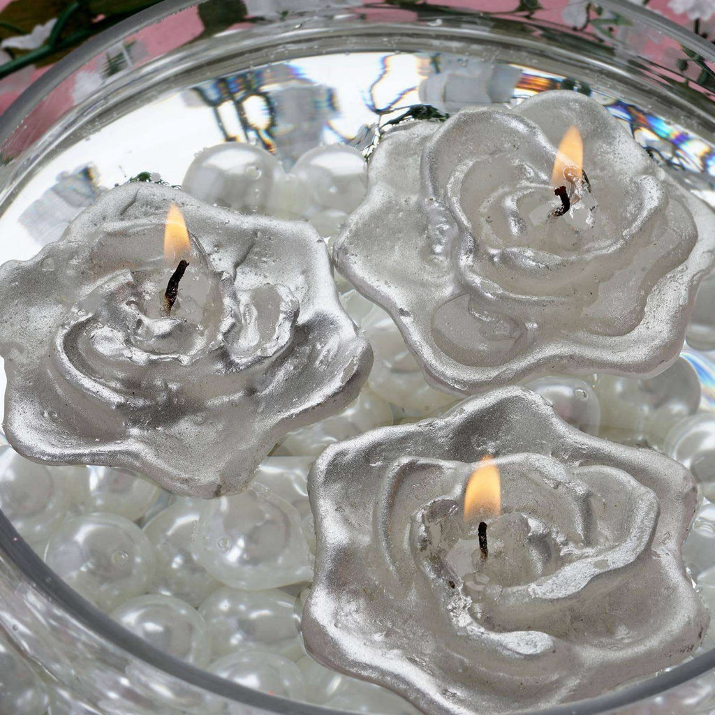 4 PCS Wholesale SILVER Rose Flower Floting Candles For Wedding Party Table Top Centerpiece Decoration