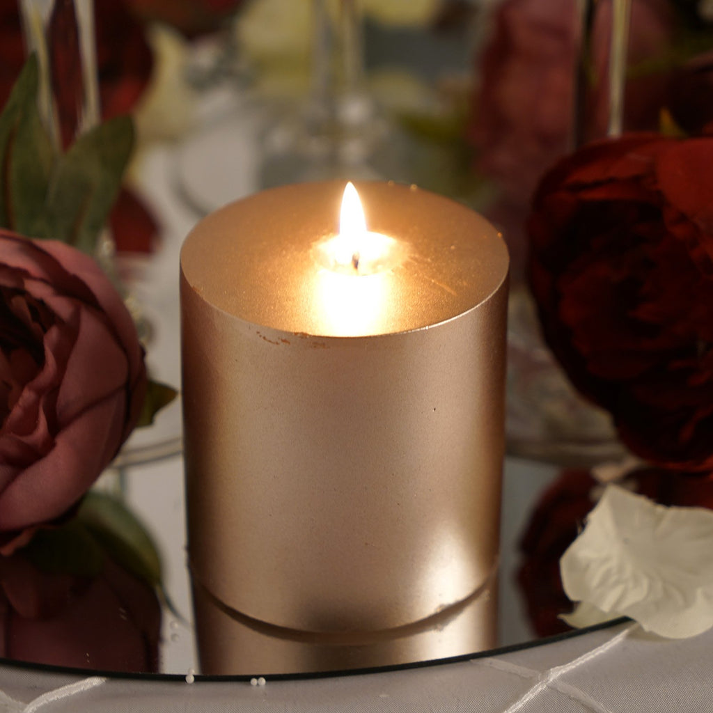 "3"" Rose Gold Unscented Round Pillar Candle - Long Burn Time"