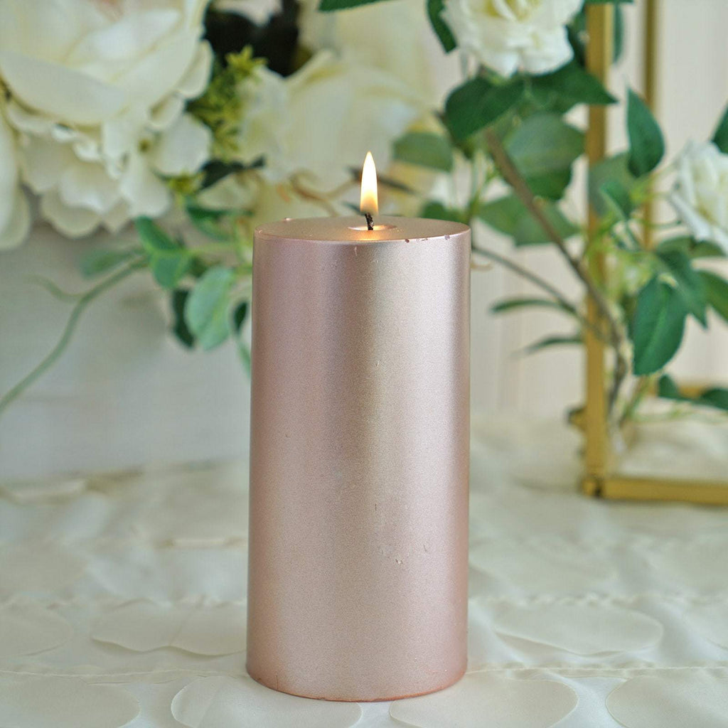 "6"" Rose Gold Unscented Round Pillar Candle - Long Burn Time"