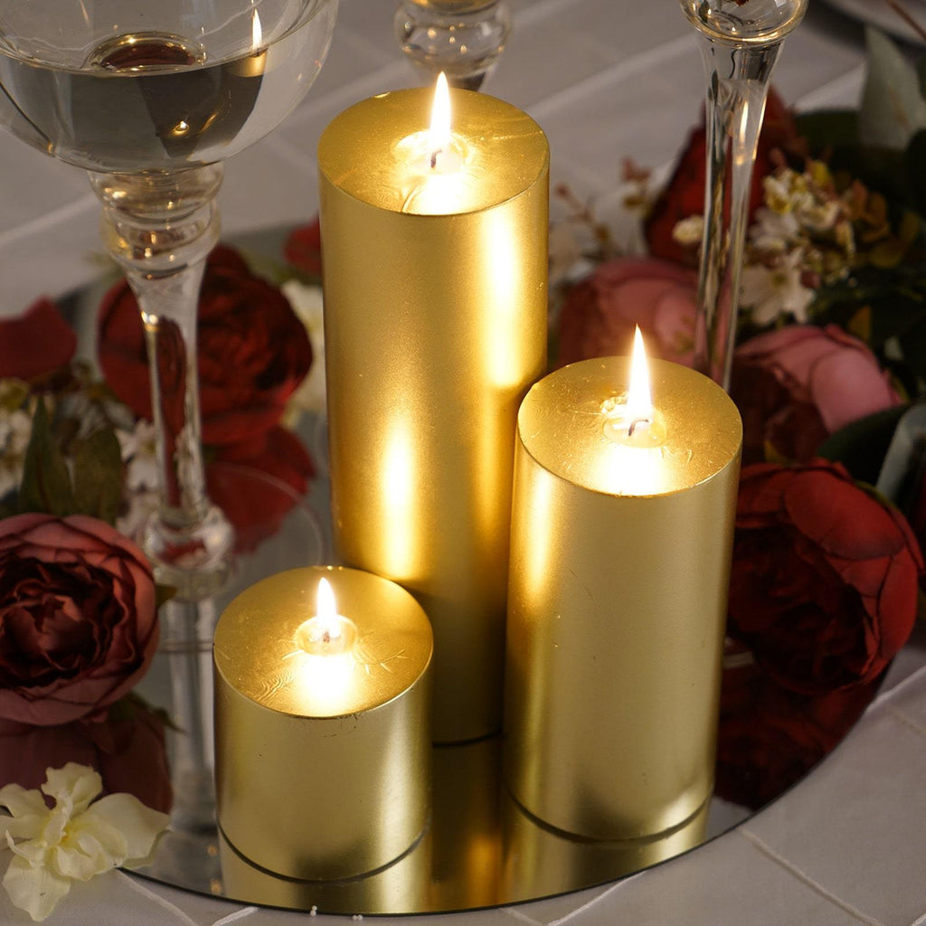"6"" Gold Unscented Round Pillar Candle - Long Burn Time"
