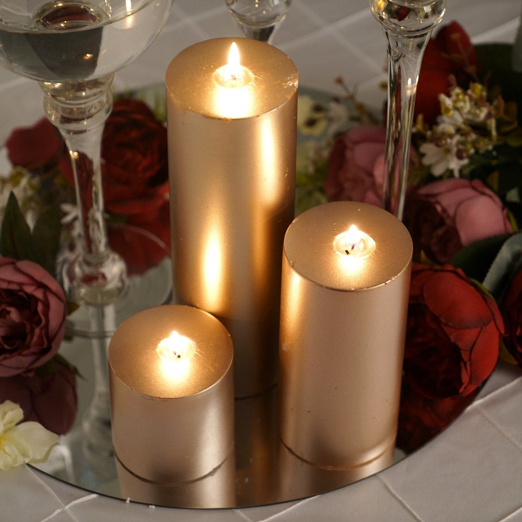 "9"" Rose Gold Unscented Round Pillar Candle - Long Burn Time"