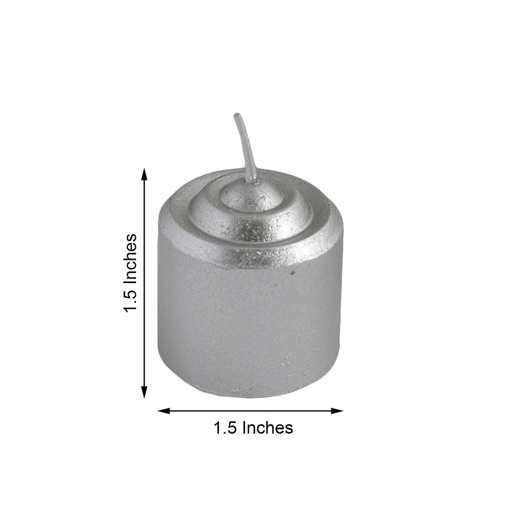 "12 Pack | 1.5"" Silver Unscented Votive Candles - Long Burn Time"