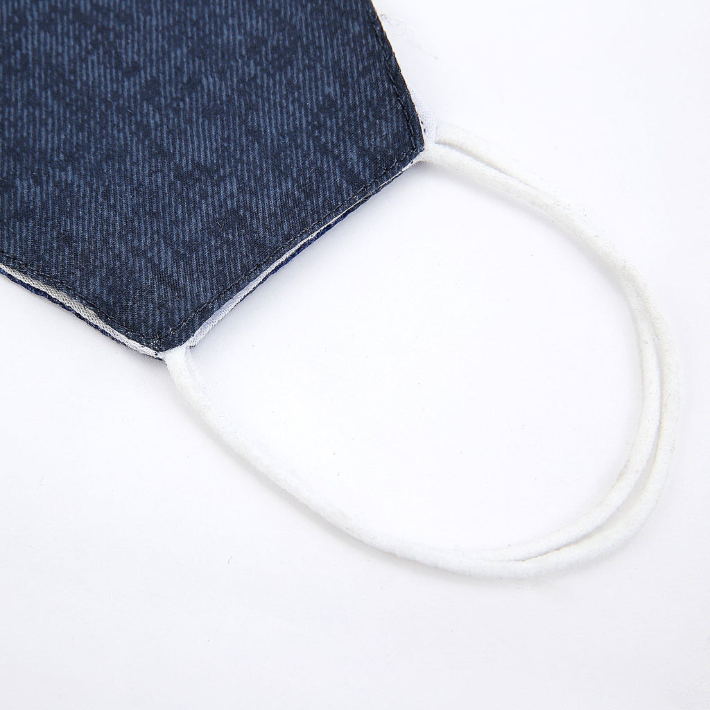 5 Pack - 2 Ply Blue Denim Cotton Organic Face Mask, Fabric Face Mask Washable With Soft Ear Loops