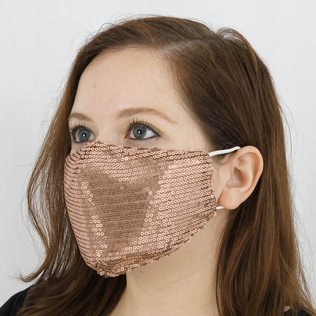 5 Pack - Sequined Cotton Fashion Face Mask, Reusable Washable Face Mask With Ear Loops - Blush | Rose Gold