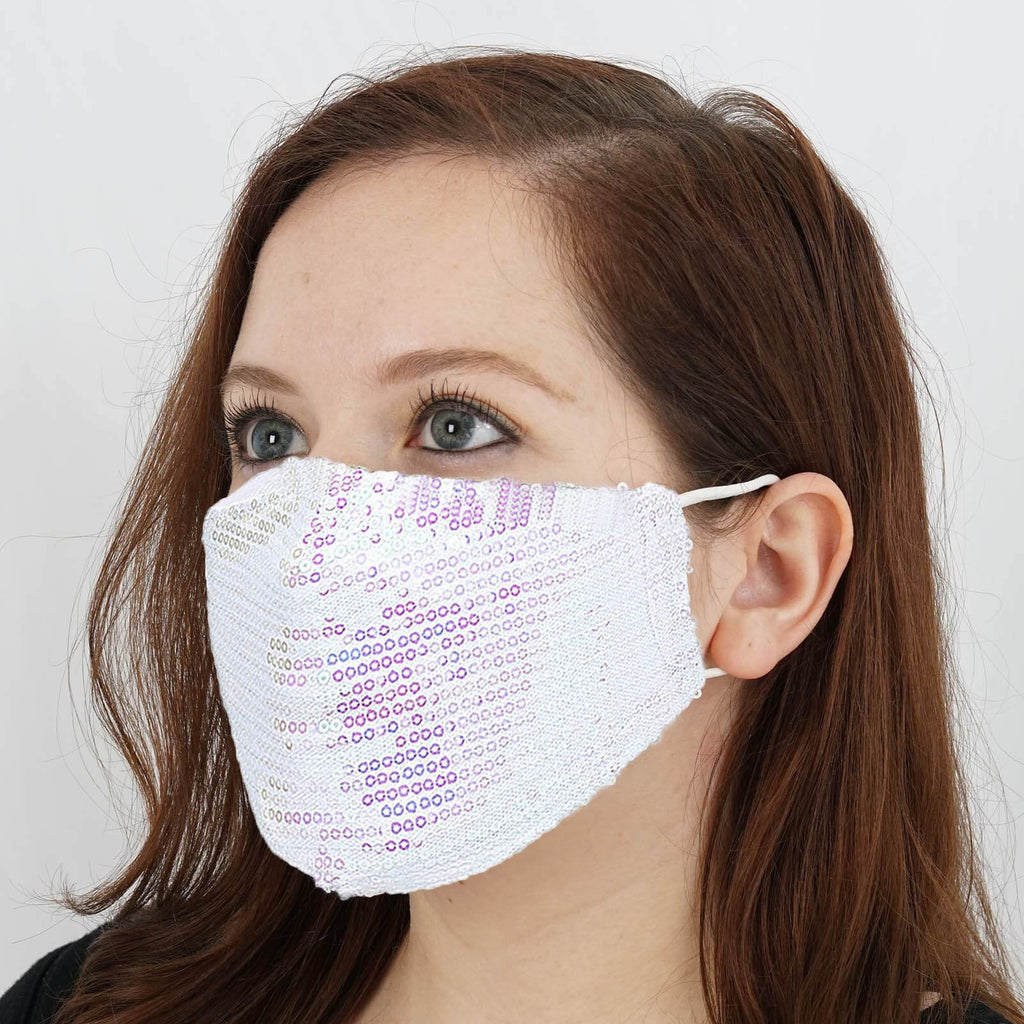 Fashion Face Mask, White Face Mask, Washable Face Mask, Glitter Face Mask, Reusable Face Mask