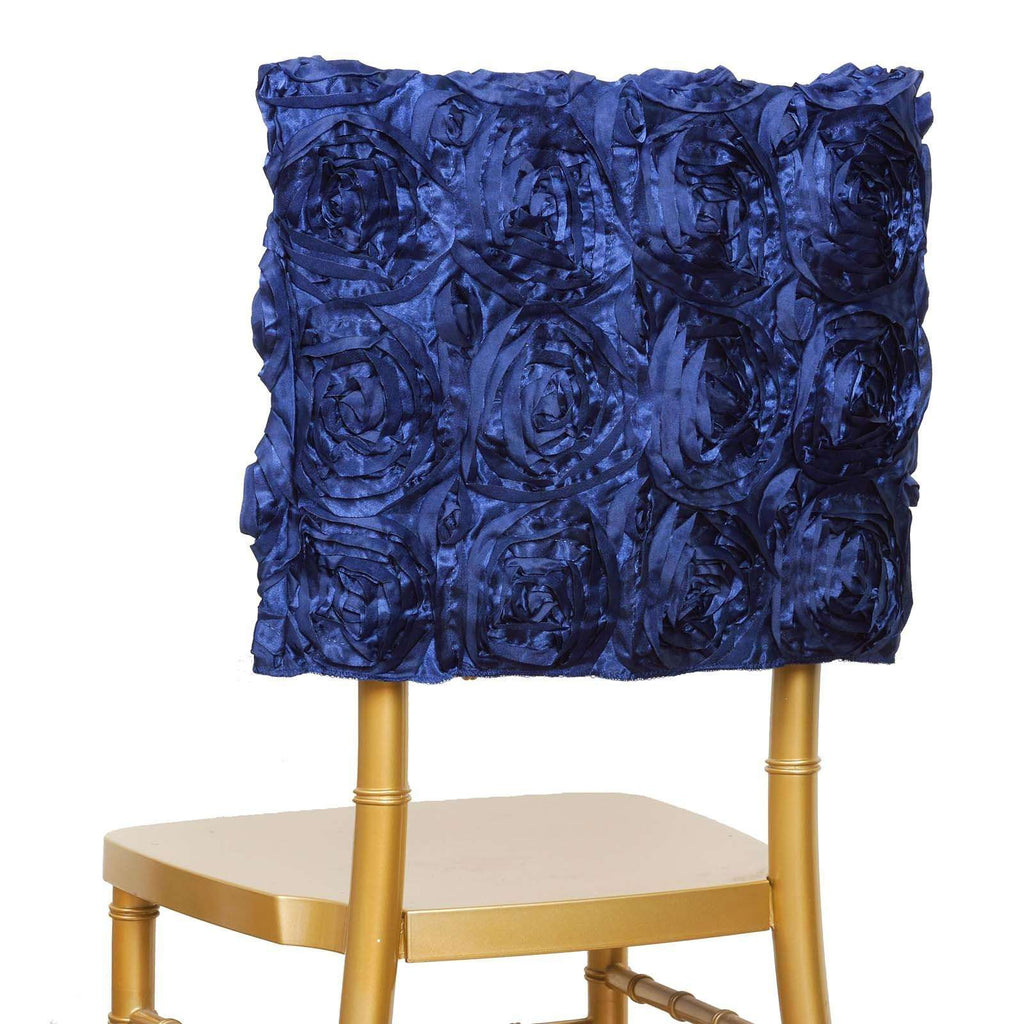 Grandiose Rosette Chivari Chair Cap for Wedding Party Event Decoration - Navy Blue