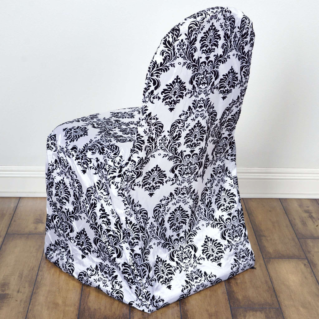 Chair Covers / Banquet - Flocking Black / White