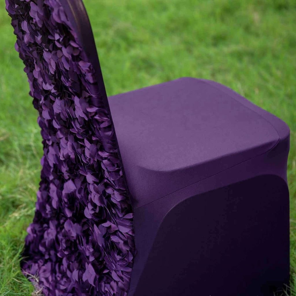 Satin Rosette Eggplant Stretch Banquet Spandex Chair Cover