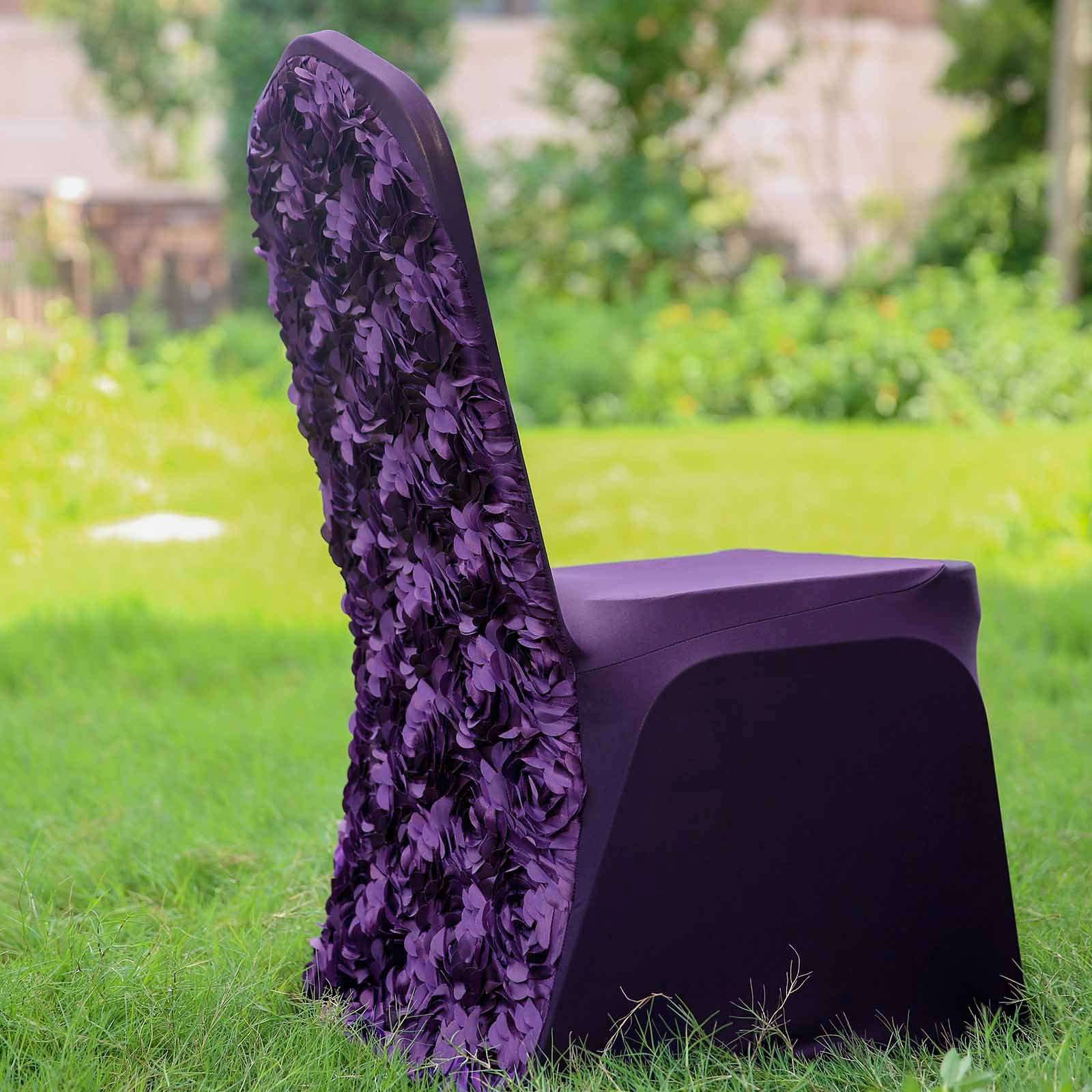 Strange Satin Rosette Eggplant Stretch Banquet Spandex Chair Cover Machost Co Dining Chair Design Ideas Machostcouk