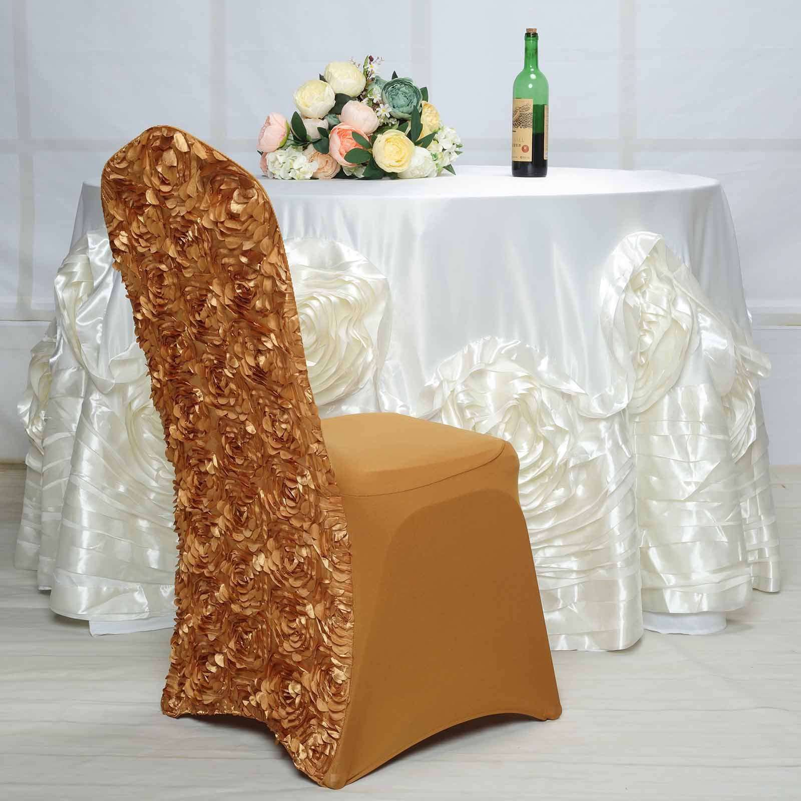 Incredible Satin Rosette Gold Stretch Banquet Spandex Chair Cover Chaircoverfactory Machost Co Dining Chair Design Ideas Machostcouk