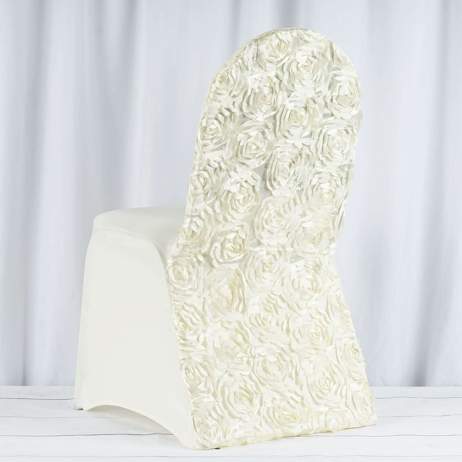 Admirable Satin Rosette Ivory Stretch Banquet Spandex Chair Cover Chaircoverfactory Machost Co Dining Chair Design Ideas Machostcouk