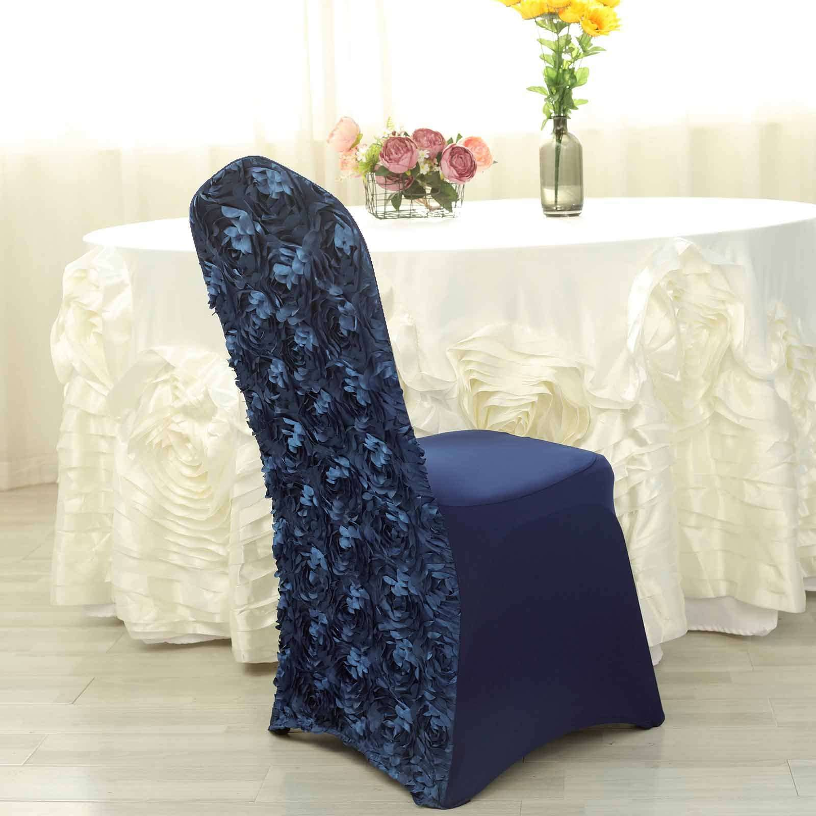 Satin Rosette Navy Blue Stretch Banquet Spandex Chair Cover
