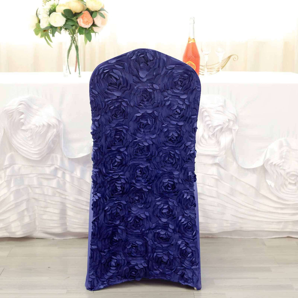Satin Rosette Purple Stretch Banquet Spandex Chair Cover