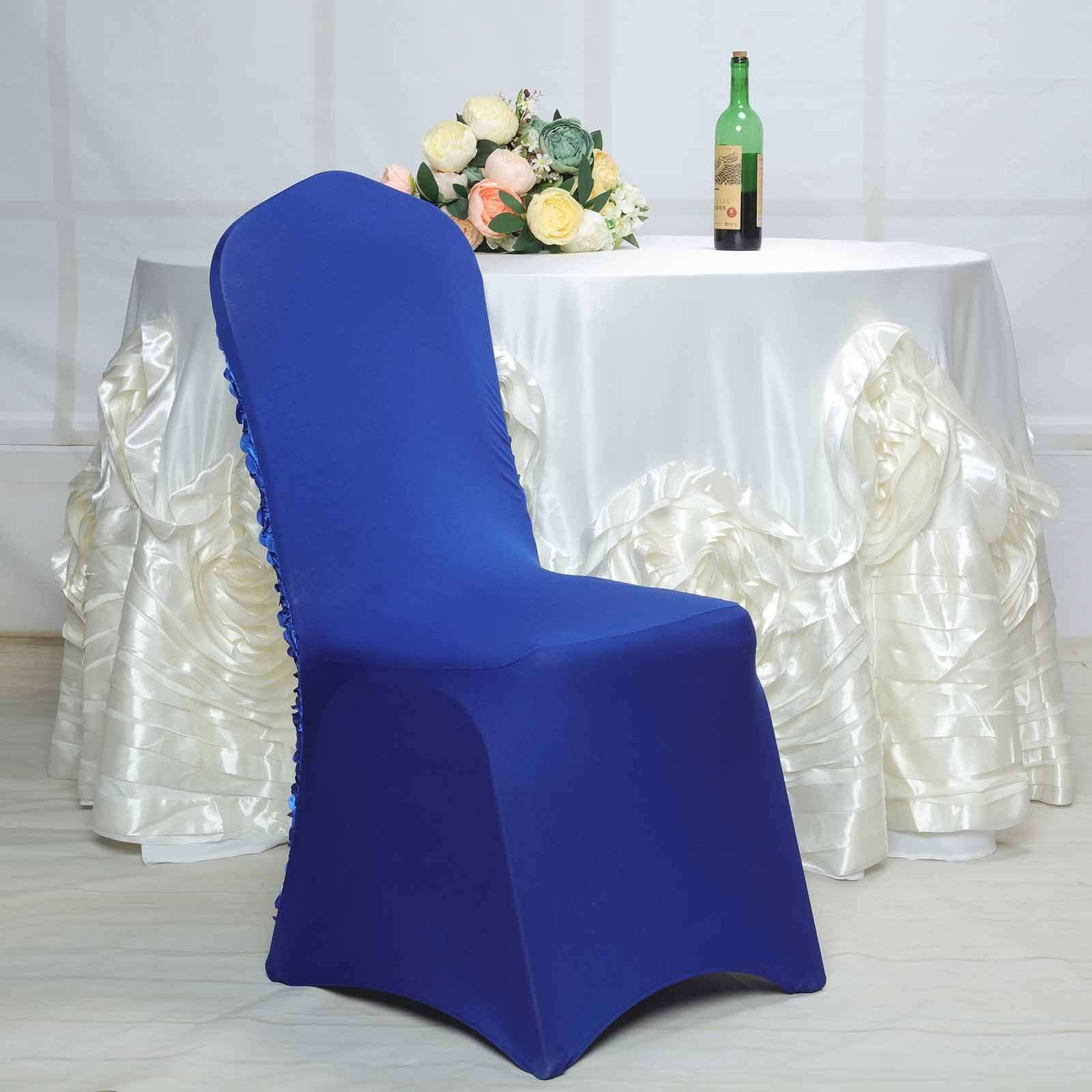 Miraculous Satin Rosette Royal Blue Stretch Banquet Spandex Chair Cover Caraccident5 Cool Chair Designs And Ideas Caraccident5Info
