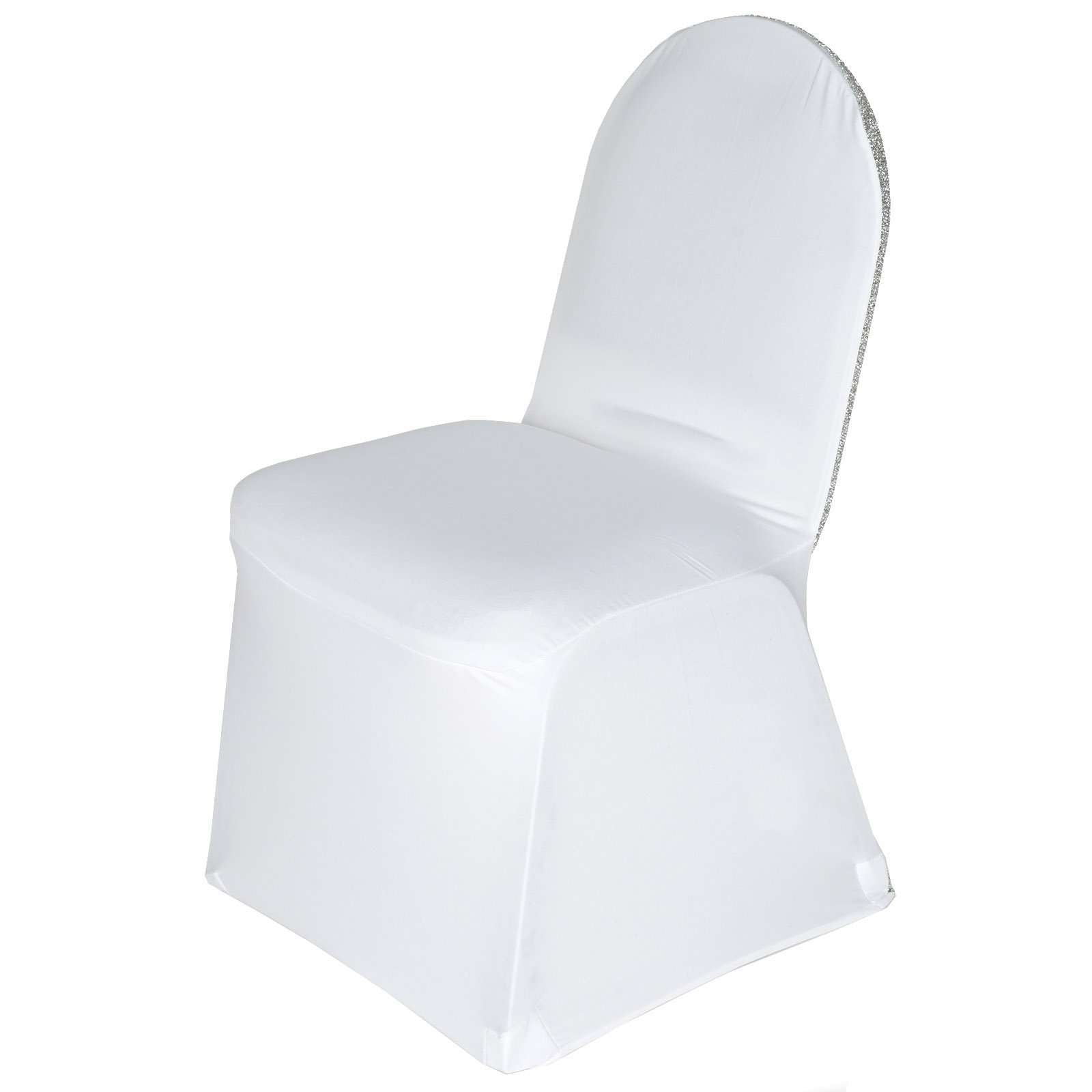 Magnificent White Spandex Stretch Banquet Chair Cover With Silver Beatyapartments Chair Design Images Beatyapartmentscom