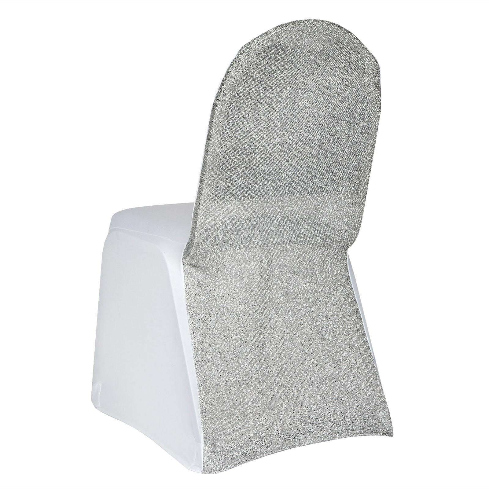 Peachy White Spandex Stretch Banquet Chair Cover With Silver Beatyapartments Chair Design Images Beatyapartmentscom