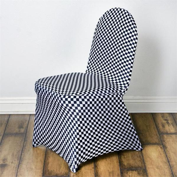 Wholesale Black / White Checkered Spandex Stretch Banquet Chair Cover Wedding Party Event