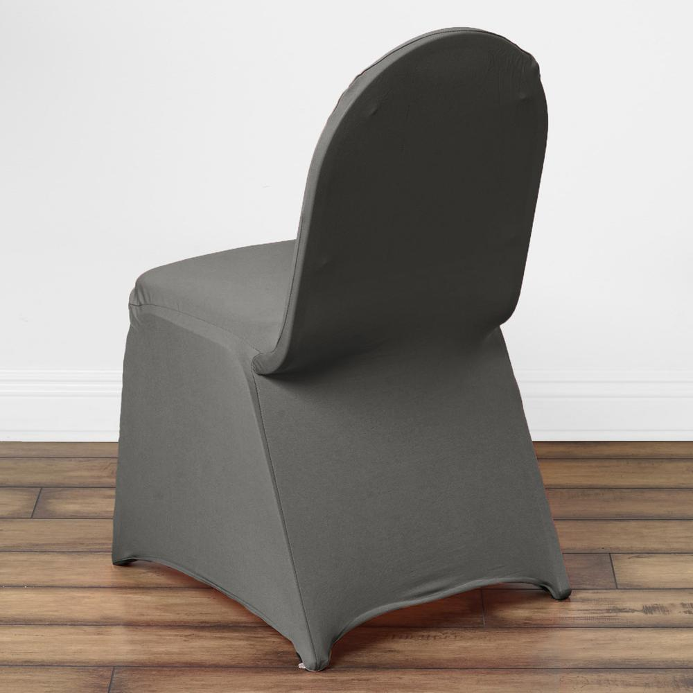 160 GSM Wholesale Charcoal Grey Stretch Spandex Banquet Chair Cover With Foot Pockets