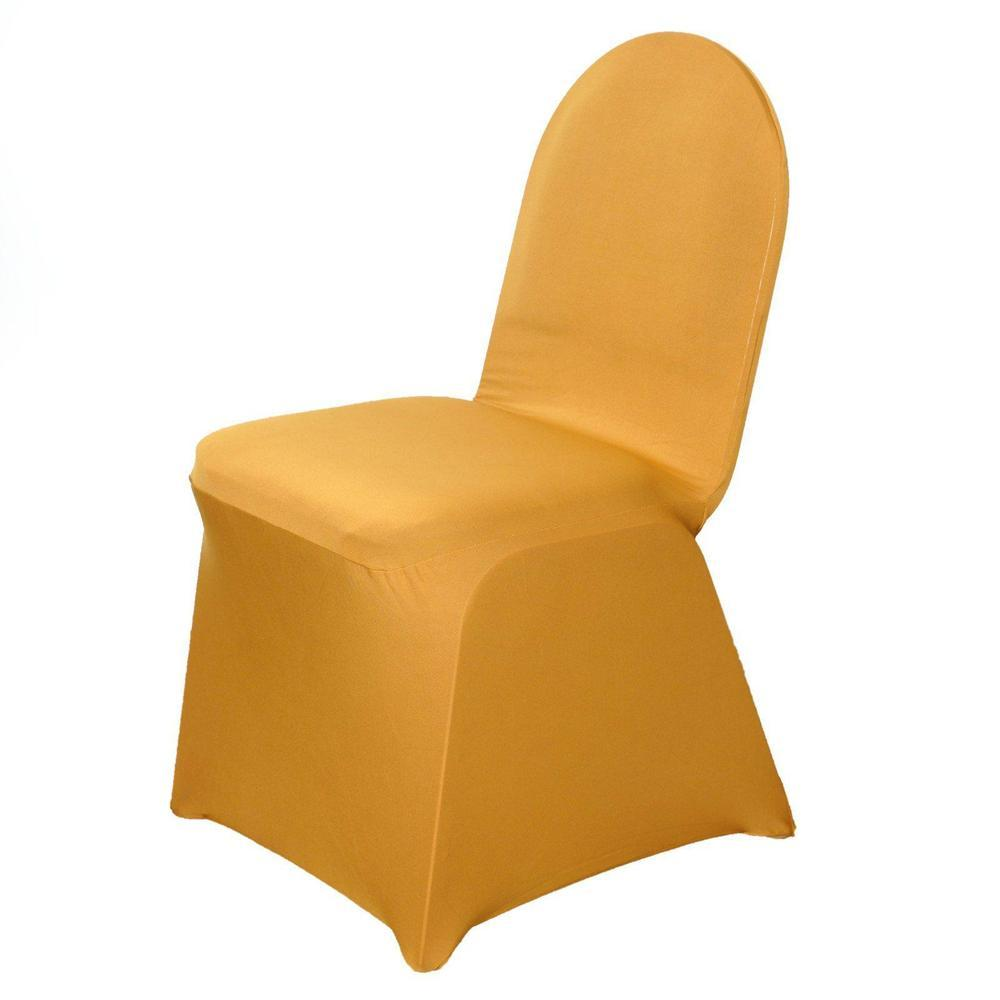 160 GSM Wholesale Gold Spandex Stretch Banquet Chair Cover Wedding Party Event