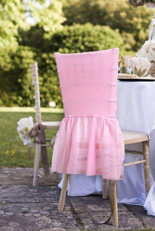 Wholesale Sheer Tulle Tutu Spandex Chair Skirt Cover for Wedding Birthday Party Event Decoration - PINK