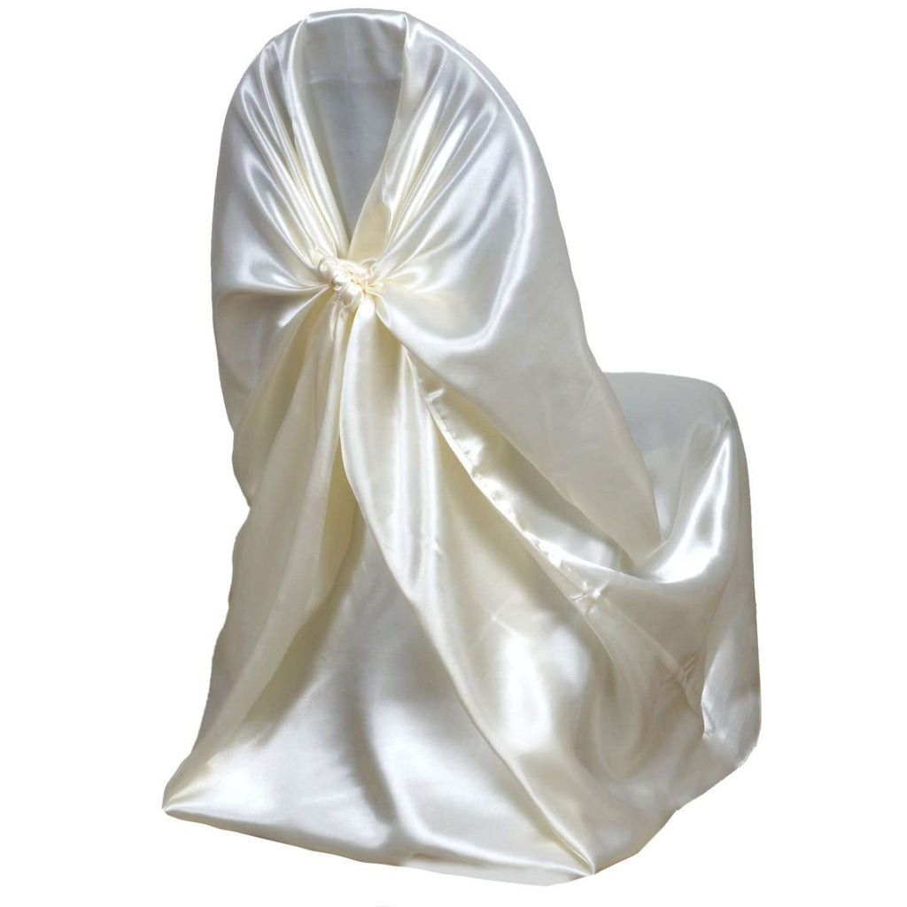 Ivory Universal Satin Chair Cover