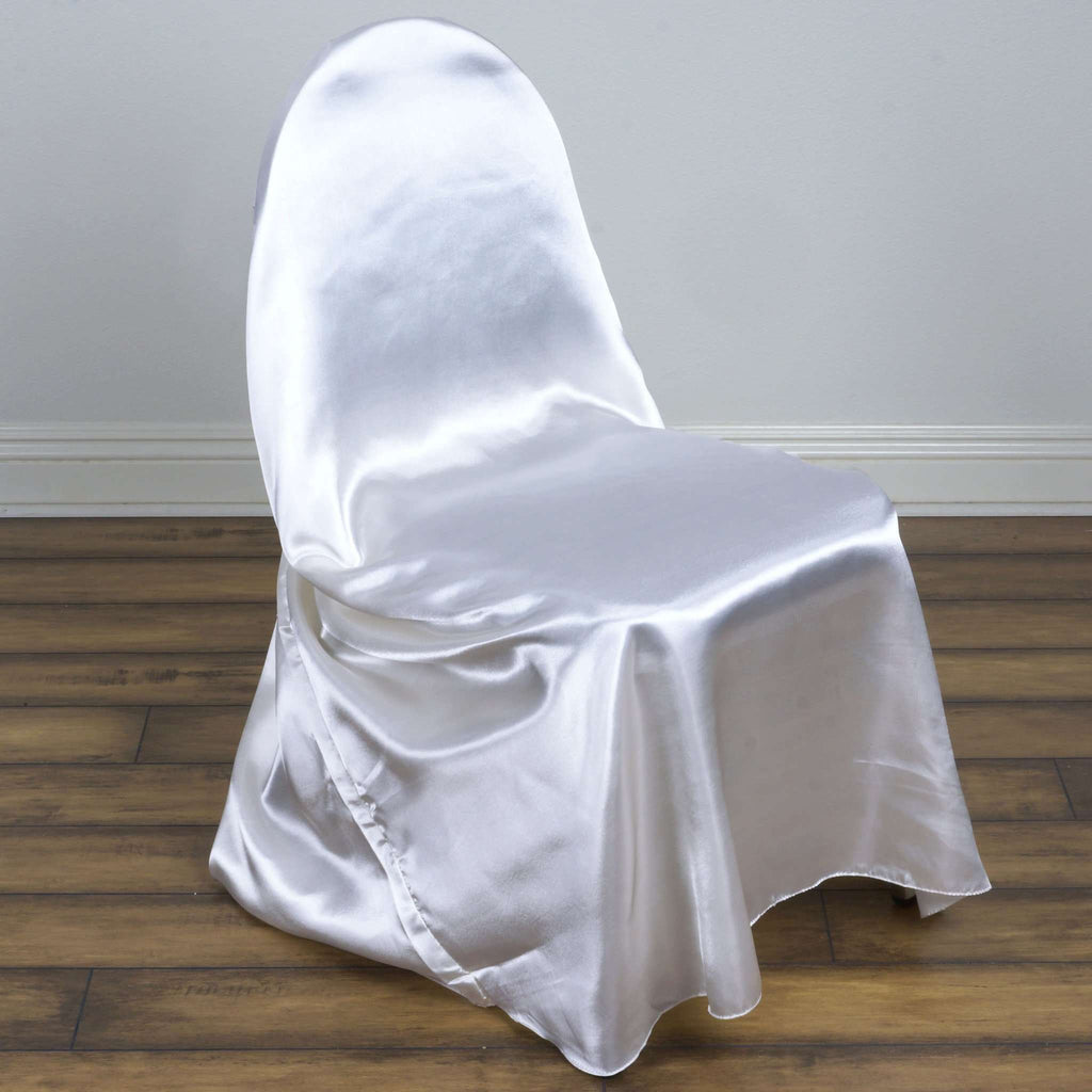 White Universal Satin Chair Cover