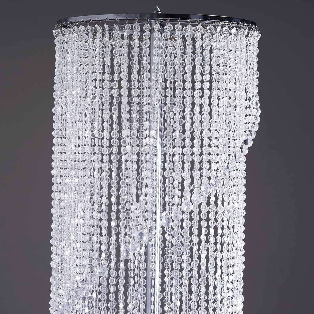 "48"" Acrylic Diamond Spiral Chandelier Centerpiece For Wedding Party Event - Free Stand + Poles"