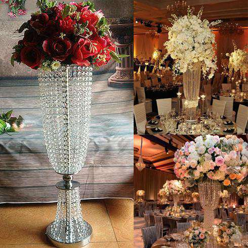 "32"" Tall Silver Exotic Designer Crystal Garland Chandelier Wedding Centerpiece"
