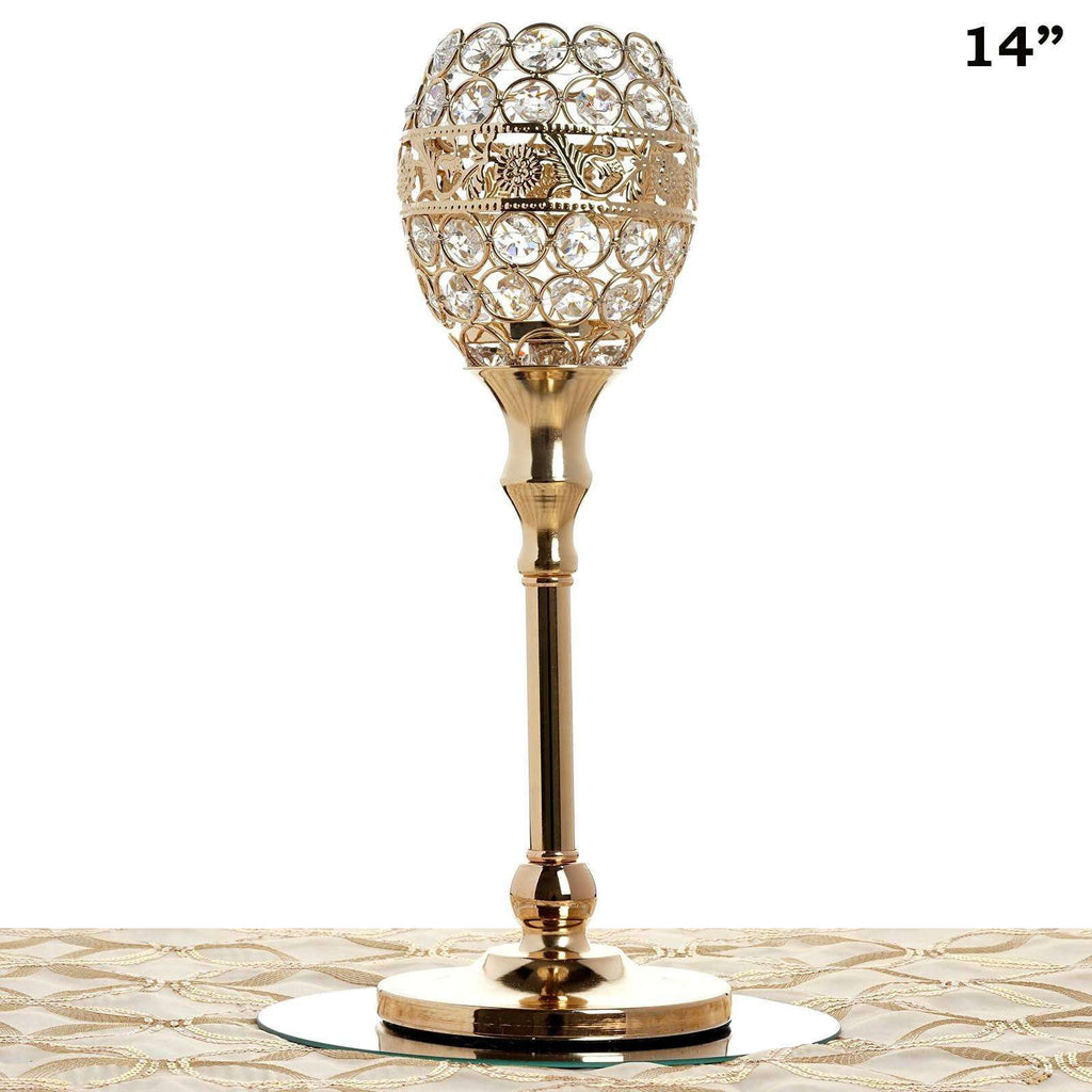 "14"" Tall Crystal Beaded Candle Holder Goblet Votive Tealight Wedding Chandelier Centerpiece - Gold - BUY ONE GET ONE FREE!!"