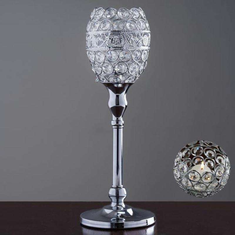 2 Pack 14 Silver Crystal Votive Candle Holder Goblet Wedding Centerpiece Chaircoverfactory