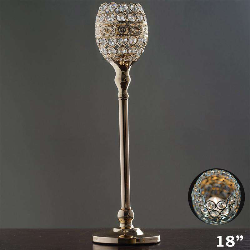"18"" Tall Crystal Beaded Candle Holder Goblet Votive Tealight Wedding Chandelier Centerpiece - Gold - BUY ONE GET ONE FREE"