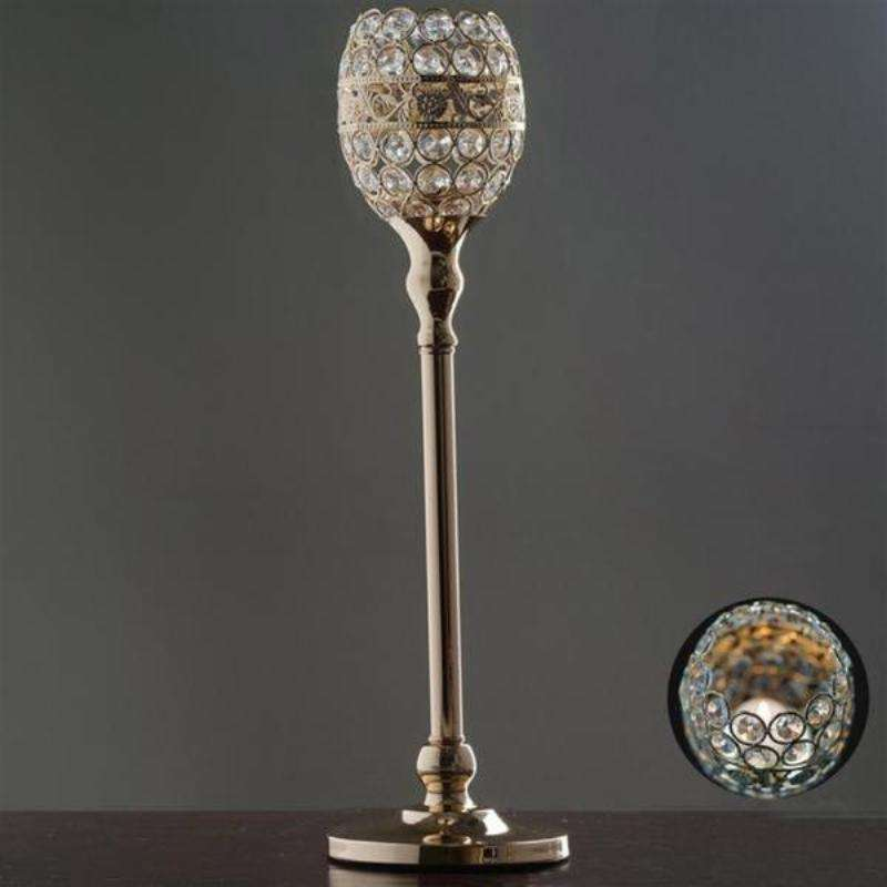 "2 Pack 18"" Tall Gold Crystal Beaded Goblet Votive Tealight Candle Holder Wedding Centerpiece"