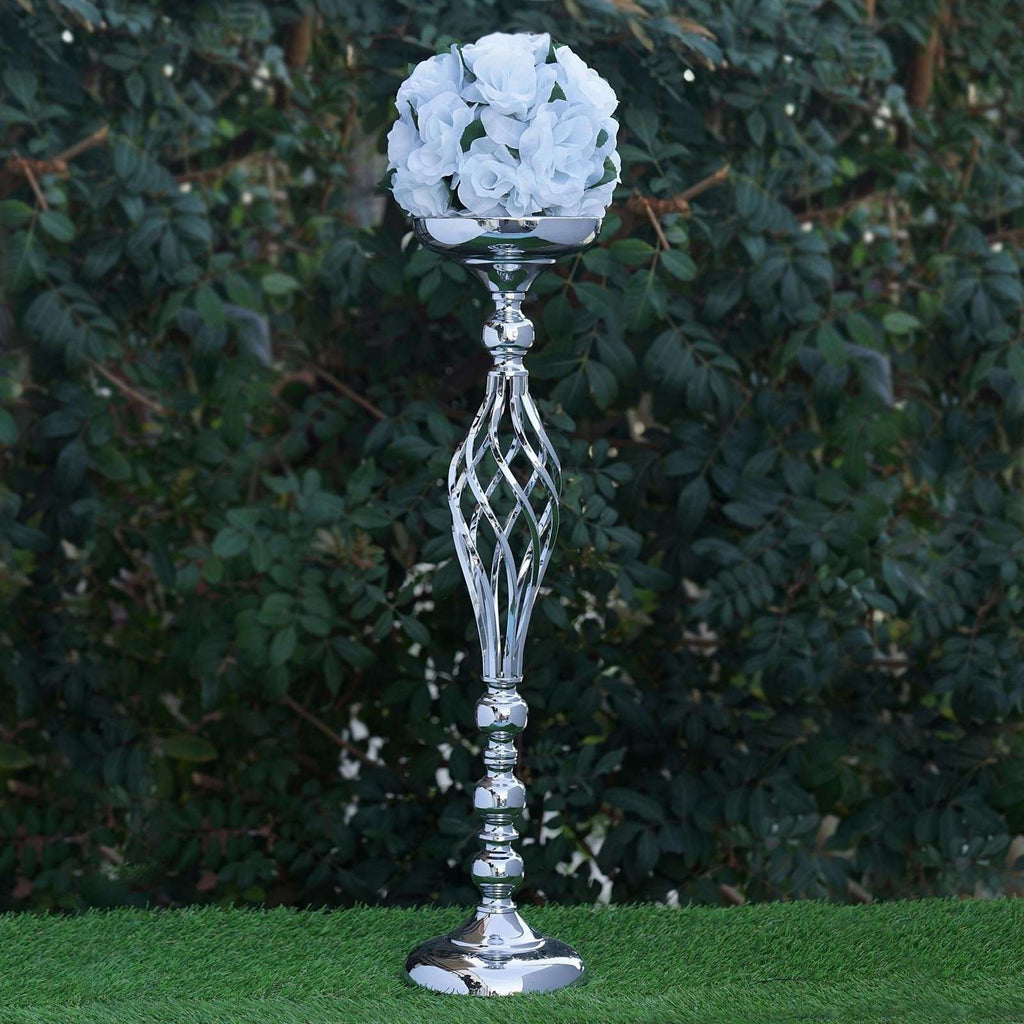 "25.5"" Tall Metal Wedding Flower Decor Candle Holder Vase Centerpiece - Silver - Buy 1 Get 1 Free"