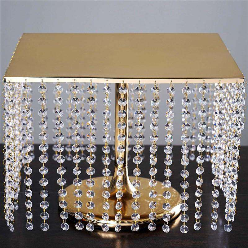 "16"" Bejeweled Gold Square Crystal Beaded Stainless Steel Chandelier Wedding Cake Stand"