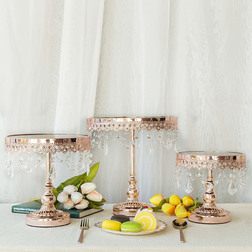 Set of 3 | Rose Gold Round Metal Cake Stand With Mirror Top