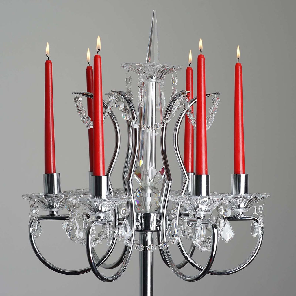 "40"" Silver Metal Acrylic Baroque Candelabra - Detail Red Candles"