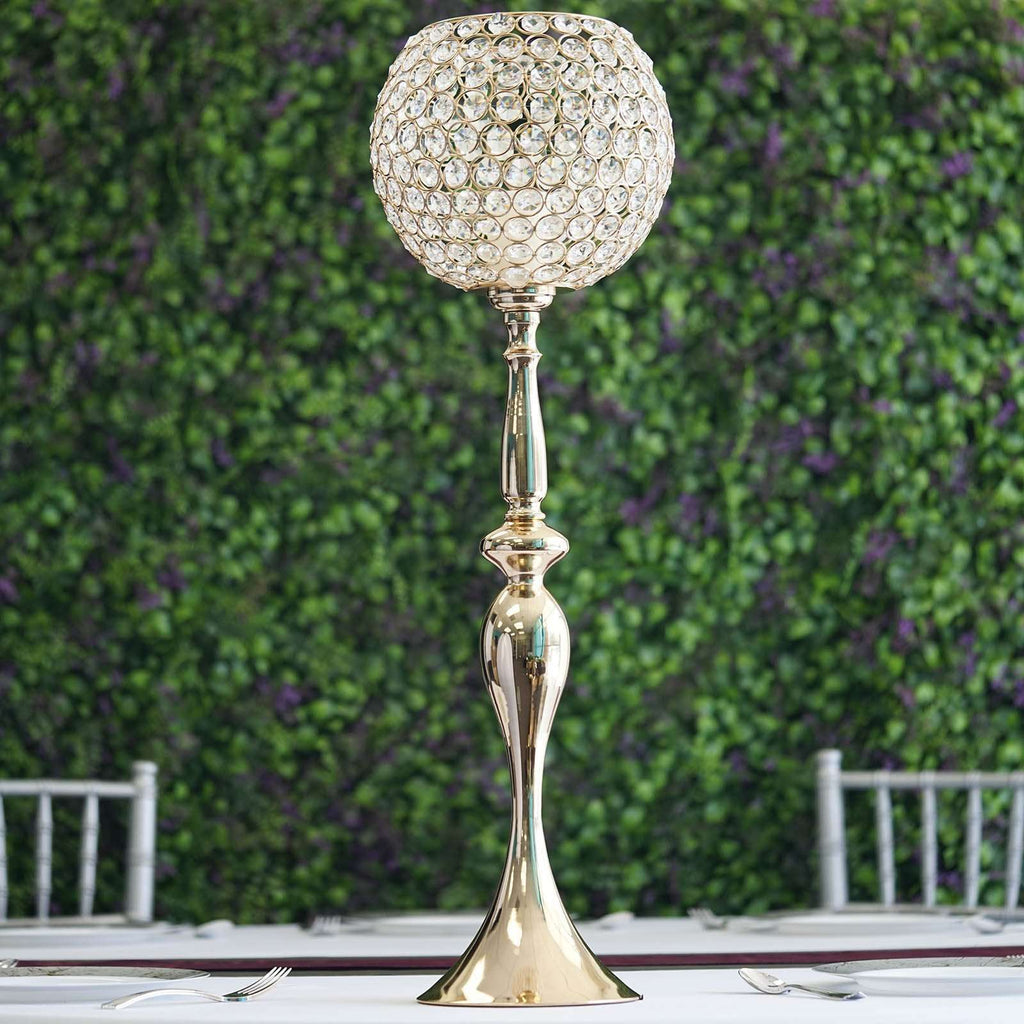 "30"" Gold Acrylic Crystal Goblet Candle Holder Flower Ball Centerpiece"