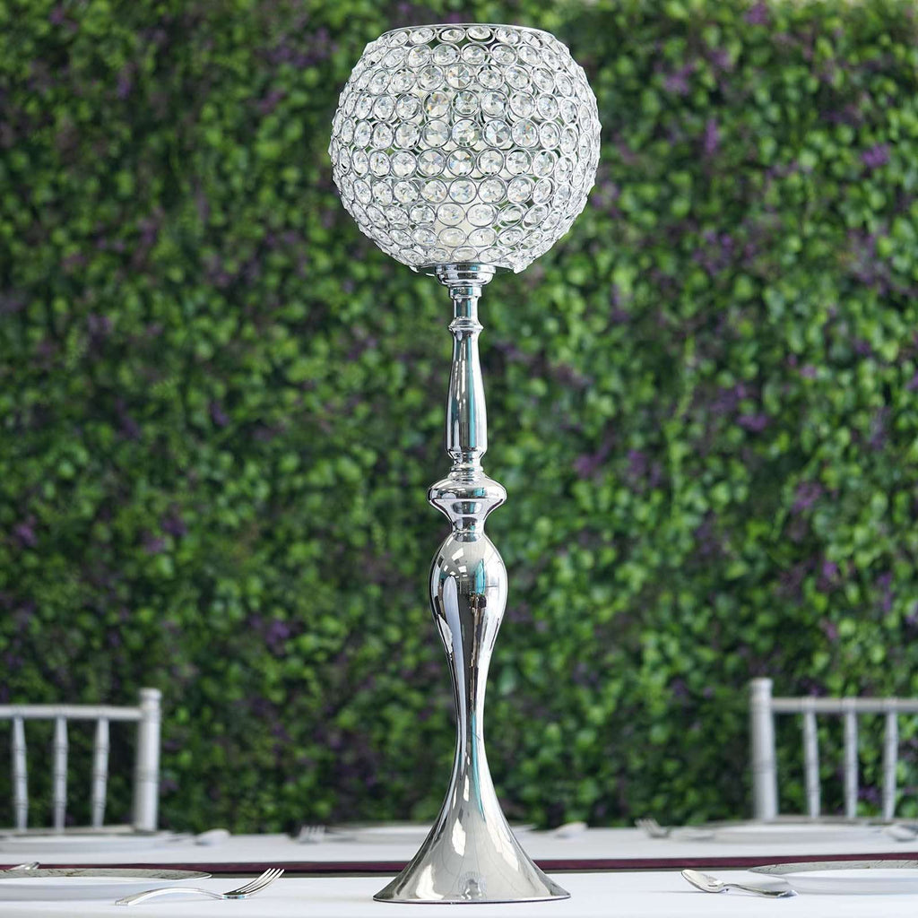 "30"" Silver Acrylic Crystal Goblet Candle Holder Flower Ball Centerpiece"