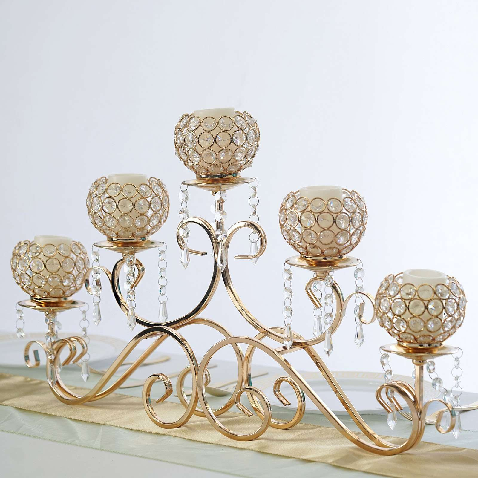 5 Arm 16 Crystal Chandelier Gold Metal Horizontal Table Standing Cand Chaircoverfactory