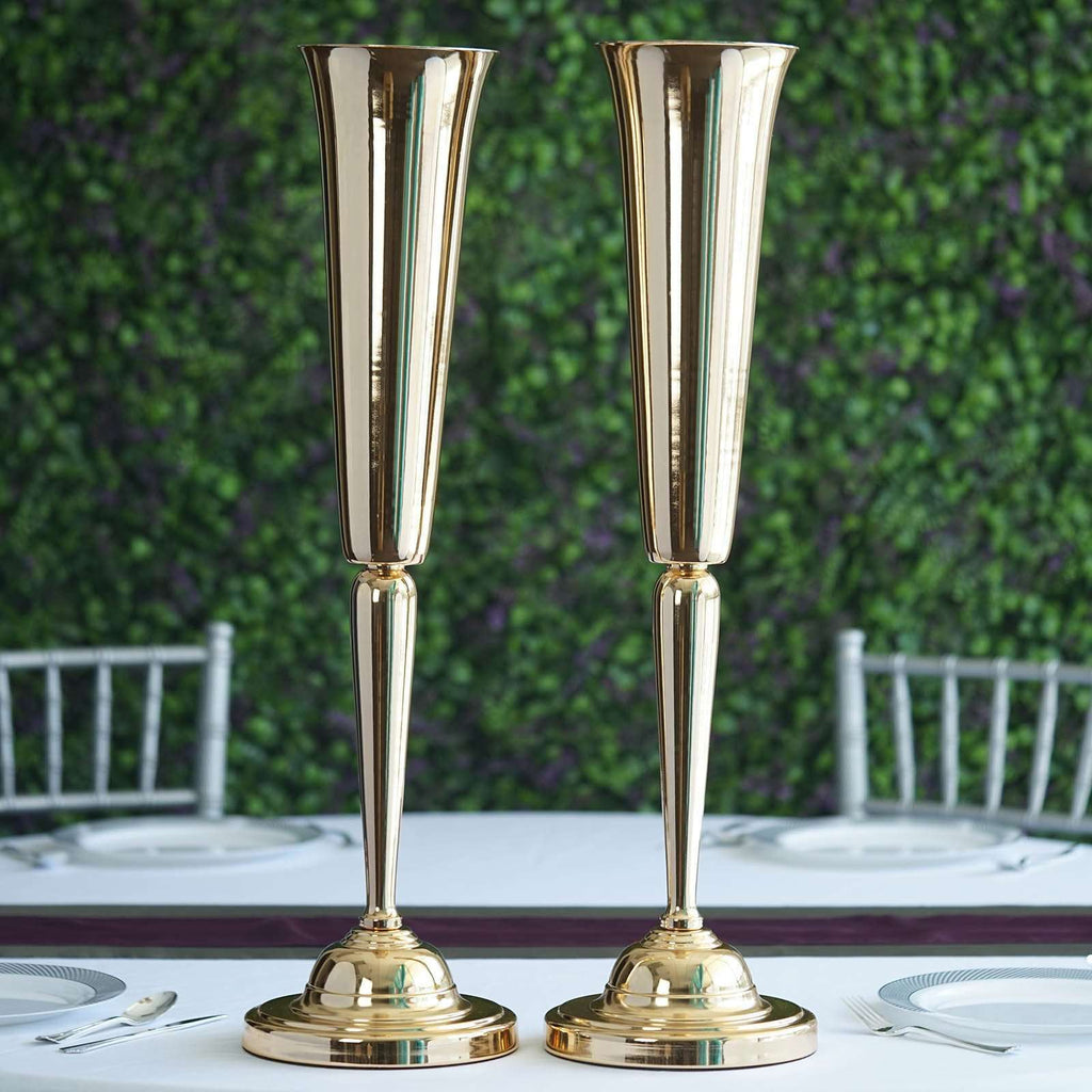 "2 Pack 29"" Sleek Metallic Gold Reversible Votive Candle Holder Floral Vase Feather Ball Centerpiece Stand"