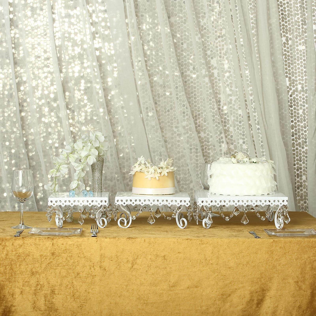 Set of 3 | White Chandelier Metal Cake Stands | Square Cupcake Stands | Dessert Display With Crystal Pendants
