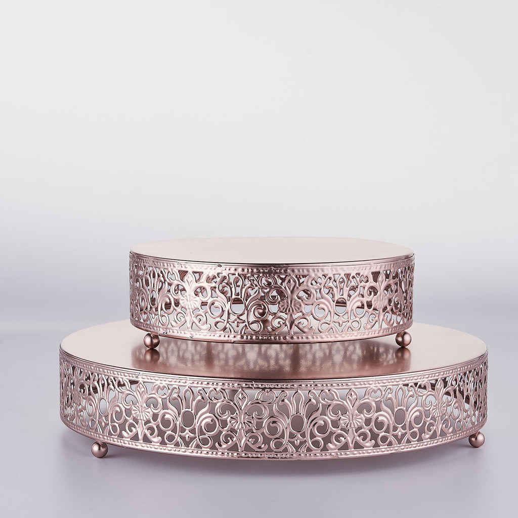 8 inch Round Fleur De Lis Metal Wedding Cake Stand, Dessert Display Stand - Blush | Rose Gold