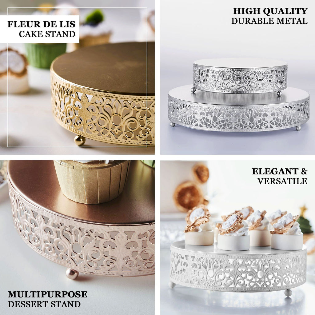 "8"" Round Fleur De Lis Metal Wedding Cake Stand, Dessert Display Stand - Blush 